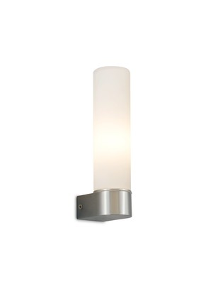 Tasso IP44 1 Light E14 Wall Lamp,  Polished Chrome With Opal Tubular Glass