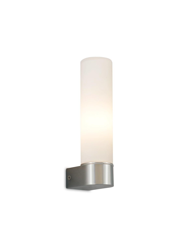 Tasso IP44 1 Light E14 Wall Lamp,  Polished Chrome With Opal Tubular Glass