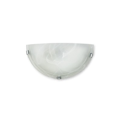 Chester 1 Light E27 Flush Wall Lamp, Polished Chrome With Frosted Alabaster Glass