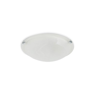 Chester 2 Light E27 Flush Ceiling 300mm Round, Polished Chrome With Frosted Alabaster Glass