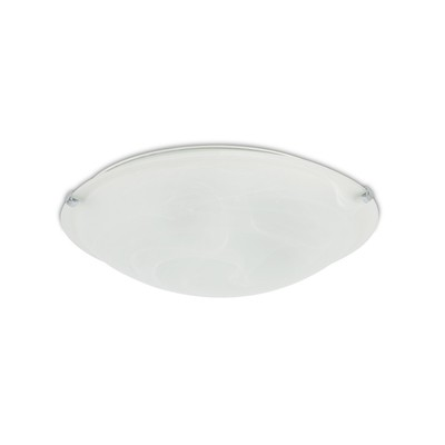 Chester 3 Light E27 Flush Ceiling 400mm Round, Polished Chrome With Frosted Alabaster Glass