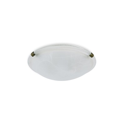 Chester 2 Light E27 Flush Ceiling 300mm Round, Polished Brass With Frosted Alabaster Glass