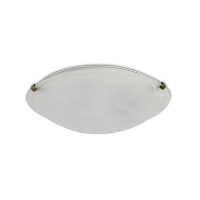 Chester 3 Light E27 Flush Ceiling 400mm Round, Polished Brass With Frosted Alabaster Glass