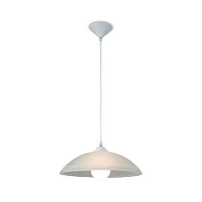 Chester 1 Light E27 Pendant, Frosted Alabaster Glass With White Suspension Kit inclusive LED Light bulb 5W 4000K Ø95