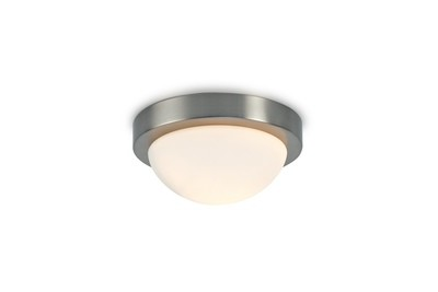 Porter IP44 1 Light E27 Small Flush Ceiling Light, Satin Nickel With Opal White Glass
