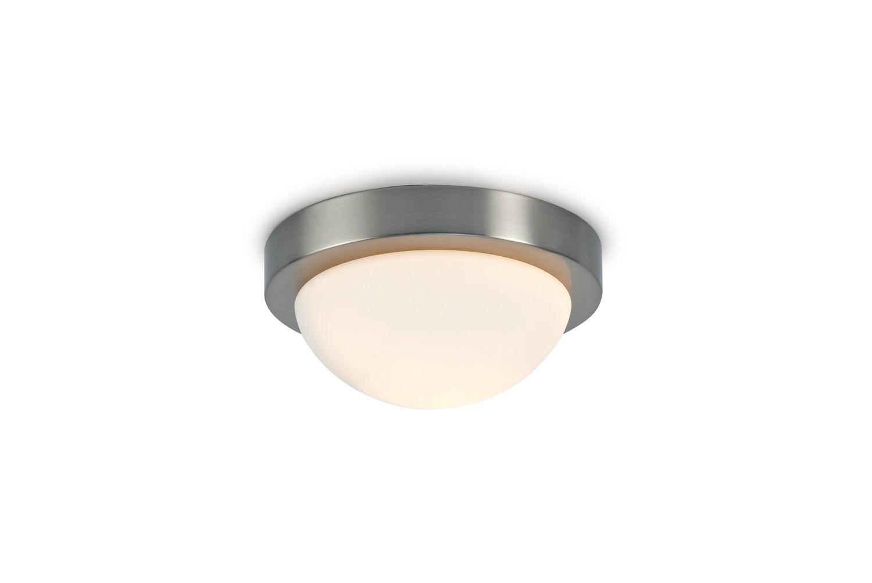 Porter IP44 1 Light E27 Small Flush Ceiling Light, Satin Nickel With Opal White Glass