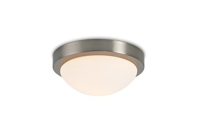 Porter IP44 1 Light E27 Medium Flush Ceiling Light, Satin Nickel With Opal White Glass