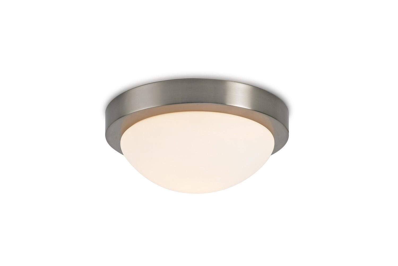 Porter IP44 1 Light E27 Medium Flush Ceiling Light, Satin Nickel With Opal White Glass