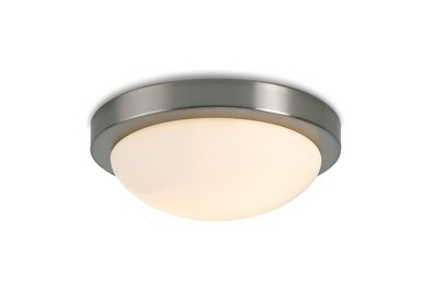 Porter IP44 2 Light E27 Large Flush Ceiling Light, Satin Nickel With Opal White Glass