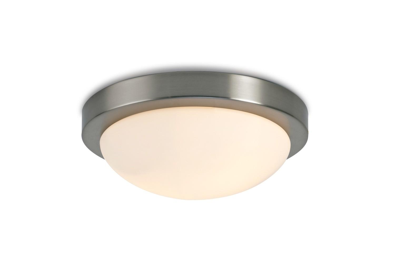 Porter IP44 2 Light E27 Large Flush Ceiling Light, Satin Nickel With Opal White Glass