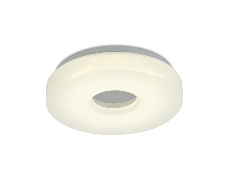 Joop IP44 12W LED Small Flush Ceiling Light, 4000K 1000lm CRI80, Polished Chrome With White Acrylic Diffuser