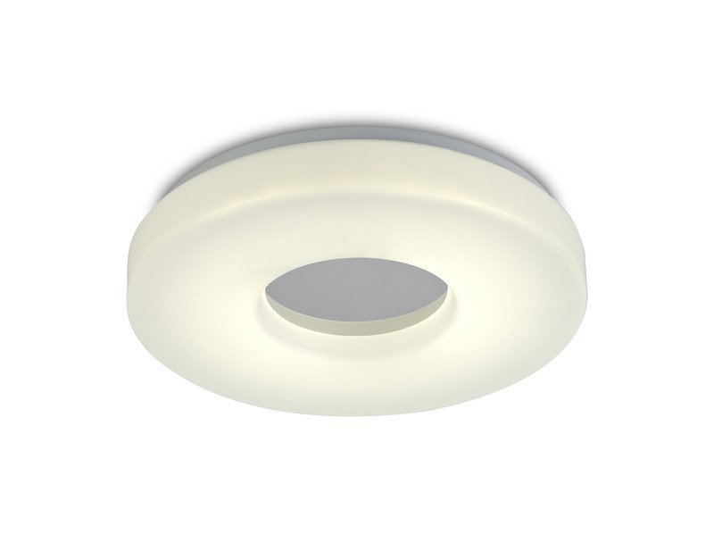Joop IP44 18W LED Medium Flush Ceiling Light, 4000K 1400lm CRI80, Polished Chrome With White Acrylic Diffuser