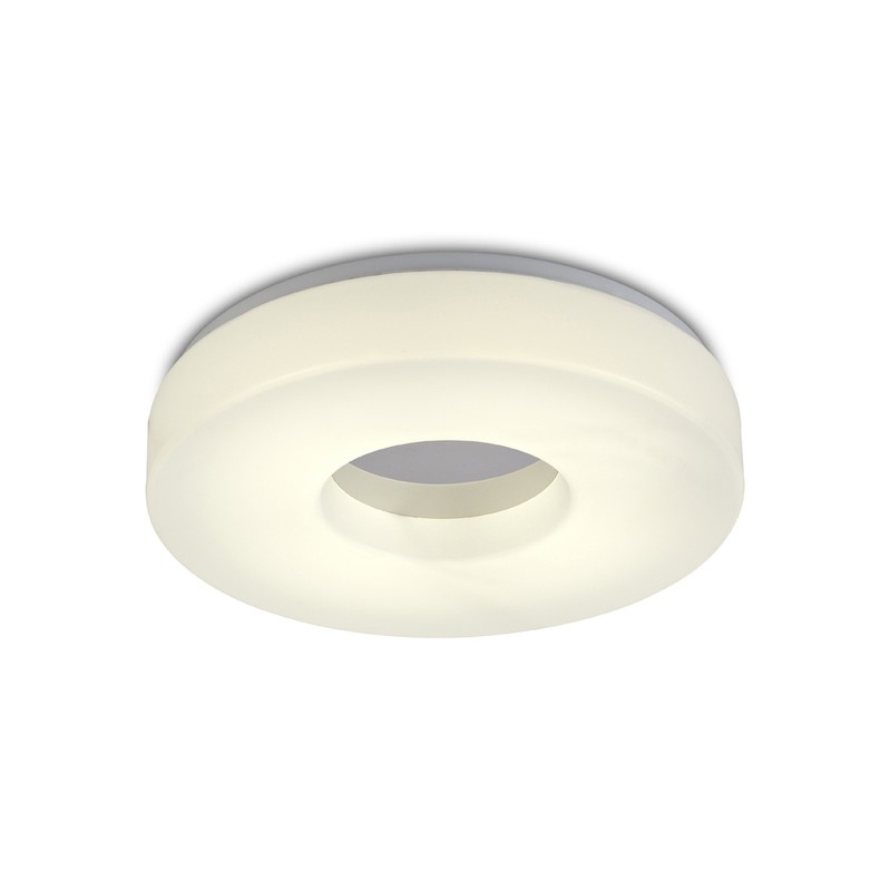 Joop IP44 24W LED Large Flush Ceiling Light, 4000K 2000lm CRI80, Polished Chrome With White Acrylic Diffuser