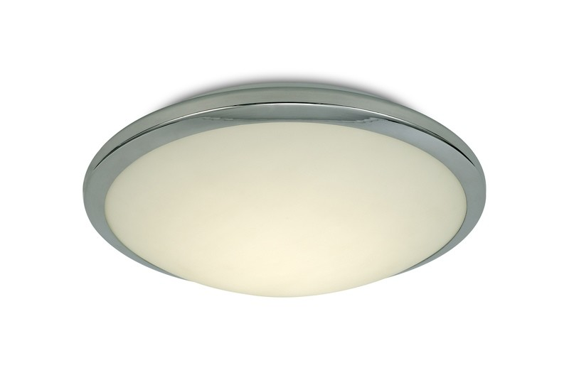 Kochi IP44 12W LED Flush Ceiling Light, 4000K 840lm CRI80, Polished Chrome Trim With Opal Glass