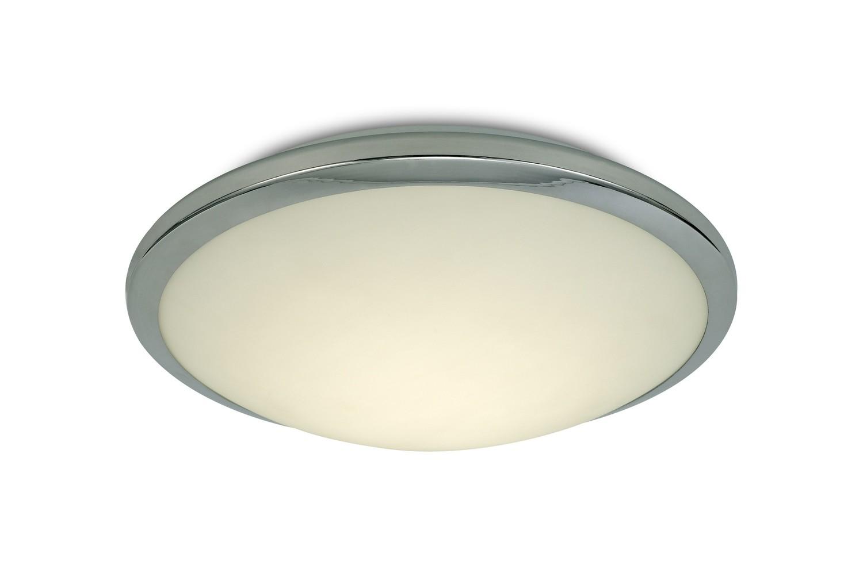 Kochi IP44 12W LED Flush Ceiling Light, 4000K 840lm CRI80, Polished Chrome Trim With Opal Glass