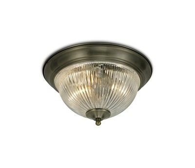 Macy IP44 2 Light E14 Flush Ceiling Light Antique Brass With Clear Ribbed Glass