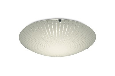 Tassa 12W LED Small Flush Ceiling Light, 300mm Round, 4000K 950lm CRI80, Sunray Pattern Glass With Polished Chrome Detail
