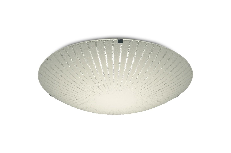 Tassa 12W LED Small Flush Ceiling Light, 300mm Round, 4000K 950lm CRI80, Sunray Pattern Glass With Polished Chrome Detail