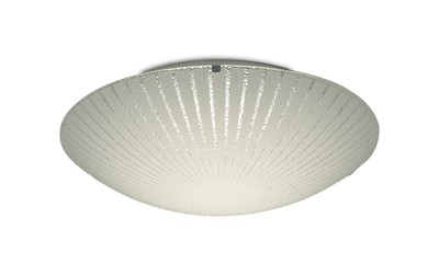 Tassa 18W LED Medium Flush Ceiling Light, 400mm Round, 4000K 1500lm CRI80, Sunray Pattern Glass With Polished Chrome Detail
