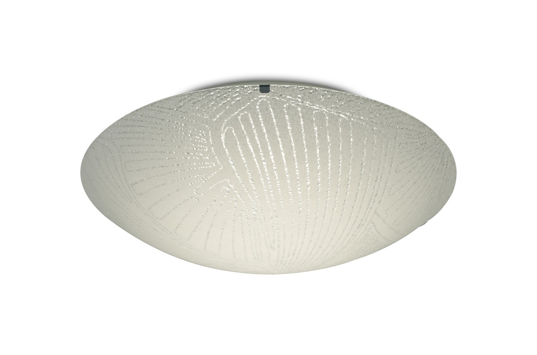 Tassa 18W LED Medium Flush Ceiling Light, 400mm Round, 4000K 1500lm CRI80, Random Line Pattern Glass With Polished Chrome Detail