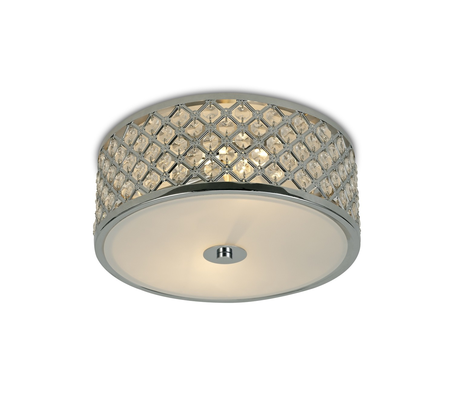 Sasha 2 Light E14, Flush Ceiling Light, 300mm Round, Polished Chrome With Crystal Glass And Opal Glass Diffuser
