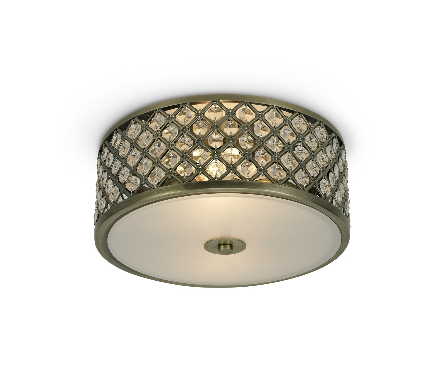 Sasha 2 Light E14, Flush Ceiling Light, 300mm Round, Antique Brass With Crystal Glass And Opal Glass Diffuser