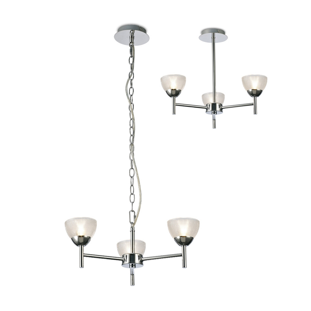 Avalon Ceiling 3 Light G9 Pendant/Semi Ceiling, Polished Chrome With Clear Prismatic Glass