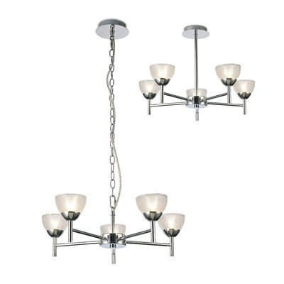 Avalon Ceiling 5 Light G9 Pendant/Semi Ceiling, Polished Chrome With Clear Prismatic Glass