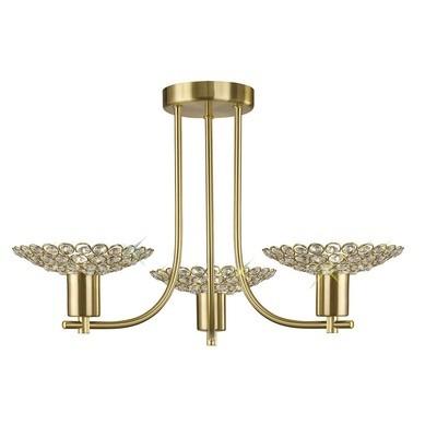 Ellen Semi Ceiling 3 Light Satin Brass/Crystal