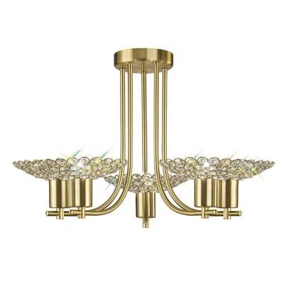 Ellen Semi Ceiling 5 Light Satin Brass/Crystal