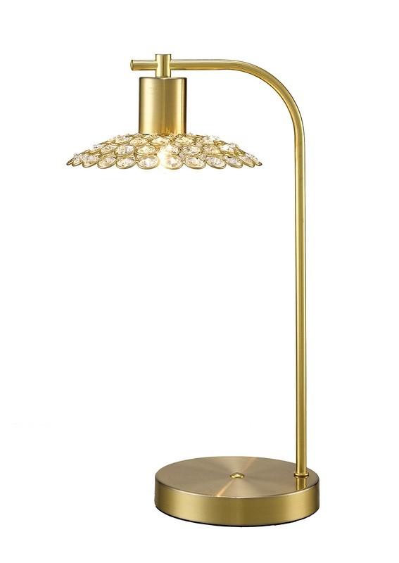 Ellen 1 Light Table Lamp Satin Brass/Crystal