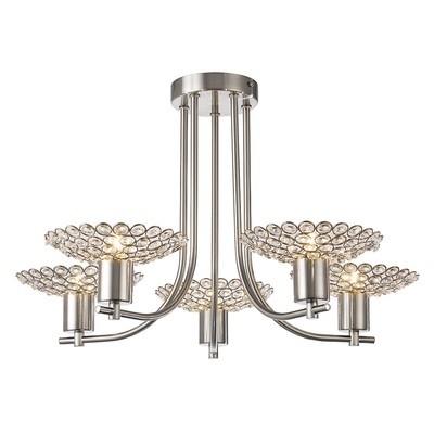 Ellen Semi Ceiling 5 Light Satin Nickel/Crystal