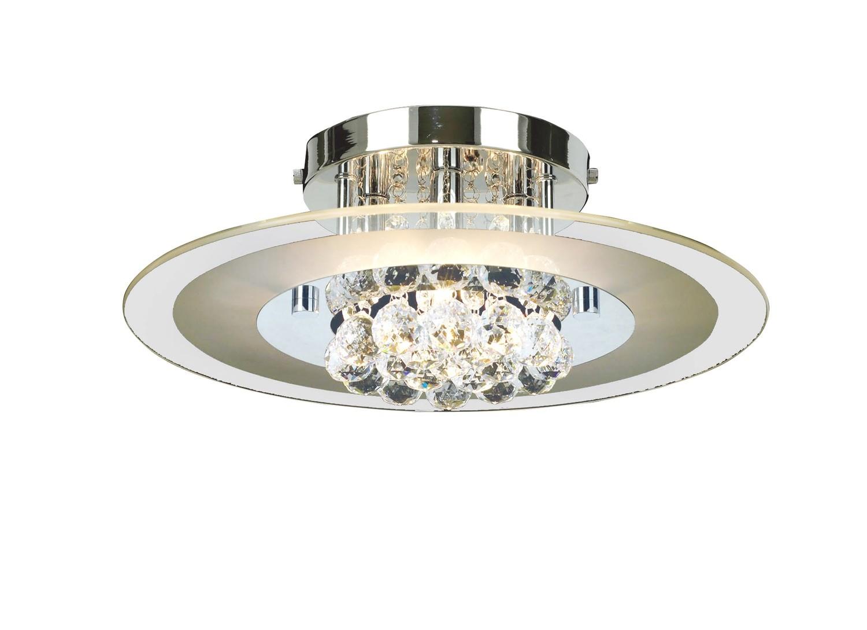Delmar Ceiling Round 4 Light Polished Chrome/Glass/Crystal