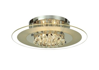 Delmar Ceiling Round 6 Light Polished Chrome/Glass/Crystal