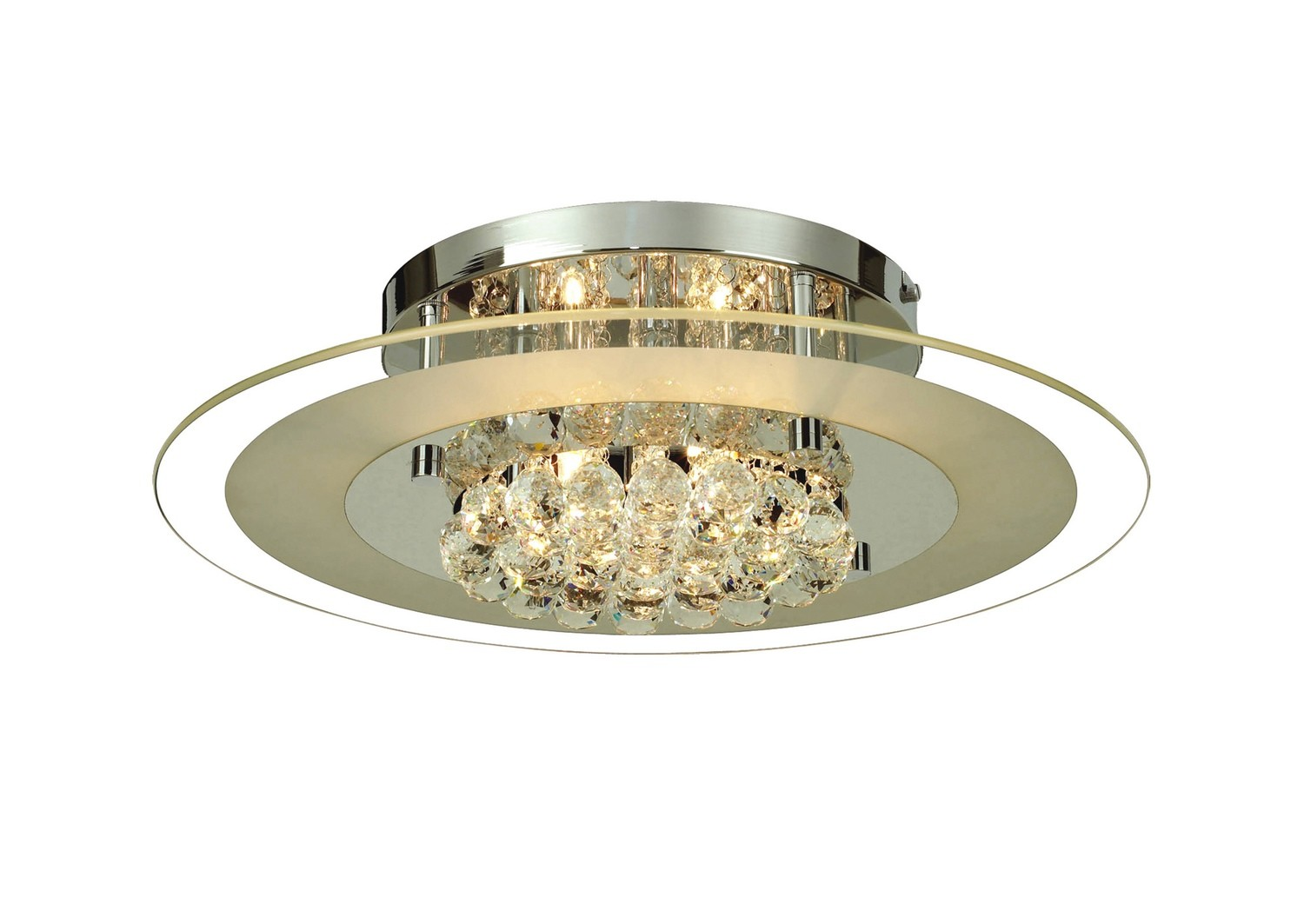 Delmar Ceiling Round 6 Light Polished Chrome/Glass/Crystal