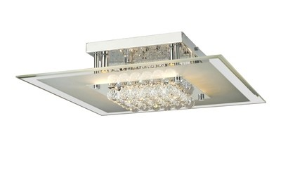 Delmar Ceiling Square 6 Light Polished Chrome/Glass/Crystal