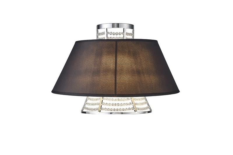 Davina Wall Lamp With Black Shade 2 Light Polished Chrome/Crystal