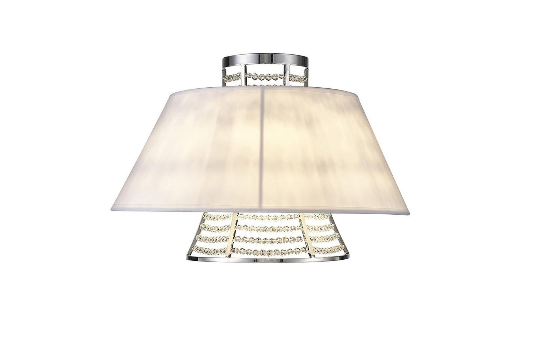 Davina Wall Lamp With White Shade 2 Light Polished Chrome/Crystal