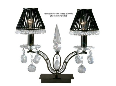 Tara Table Lamp 2 Light Black Chrome/Crystal
