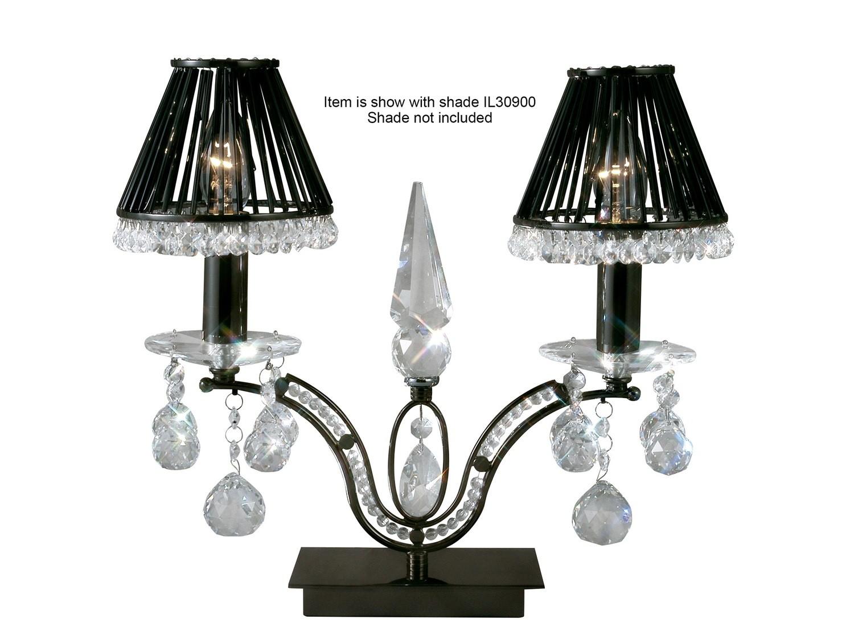 Tara Table Lamp 2 Light Black Chrome/Crystal