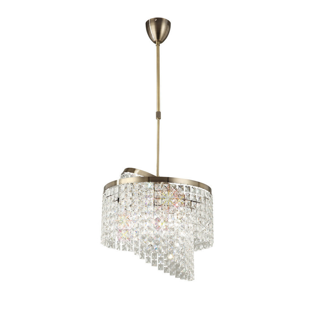 Cortina Telescopic Pendant 6 Light With Adjustable Rings Antique Brass/Crystal