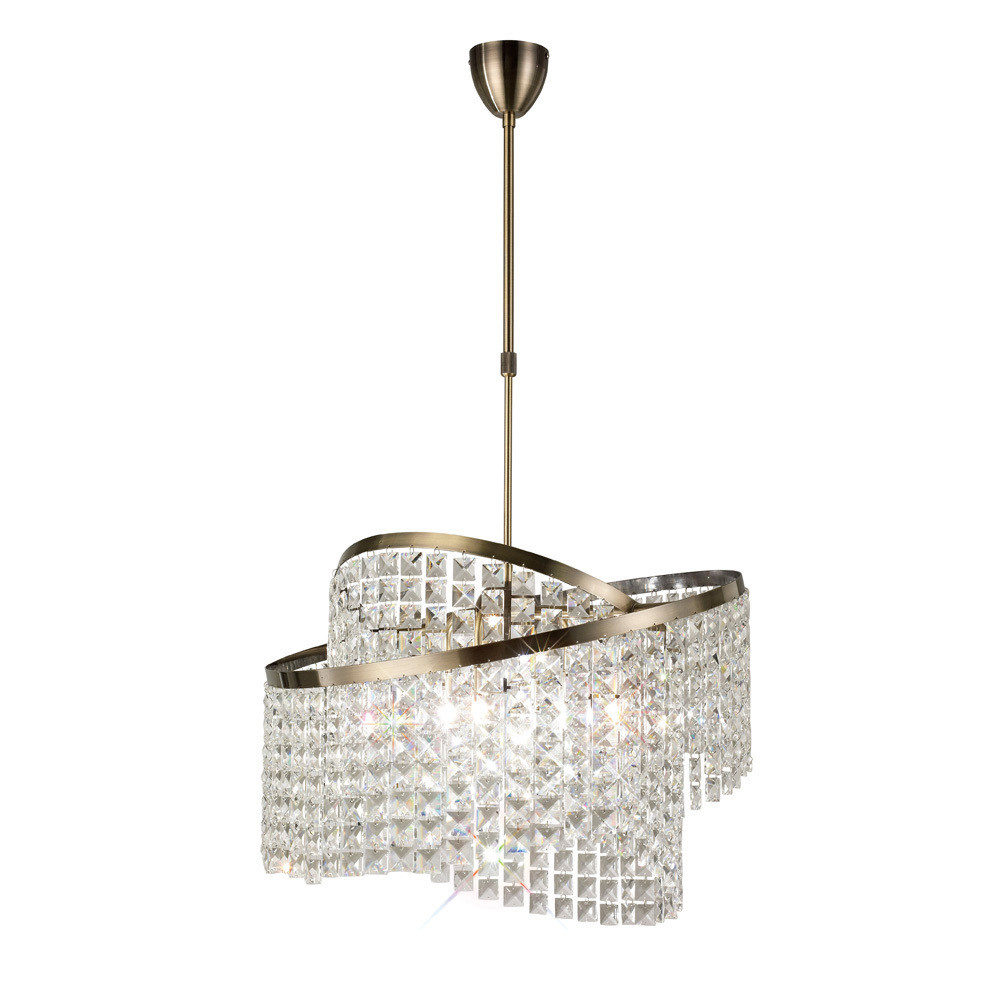 Cortina Telescopic Pendant with Adjustable Rings Antique Brass/Crystal 8 Light G9