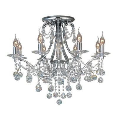Diyas IL30118 Bianco Ceiling 8 Light Polished Chrome/Crystal