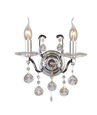 Zinta Wall Lamp Switched 2 Light Switched Polished Chrome/Crystal