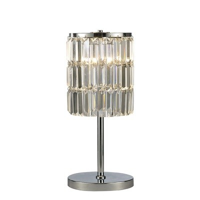 Torre Crystal Curtain Table Lamp 3 Light Polished Chrome