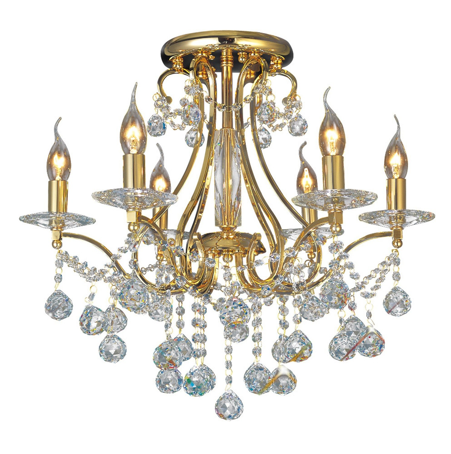 Bianco Ceiling 6 Light French Gold/Crystal