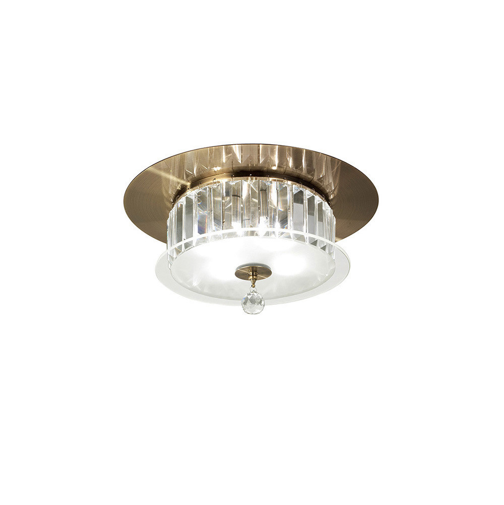 Tosca Ceiling Round 4 Light Antique Brass/Glass/Crystal
