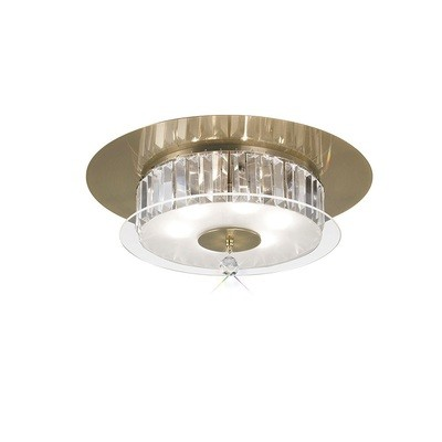 Tosca Ceiling Round 6 Light Antique Brass/Glass/Crystal