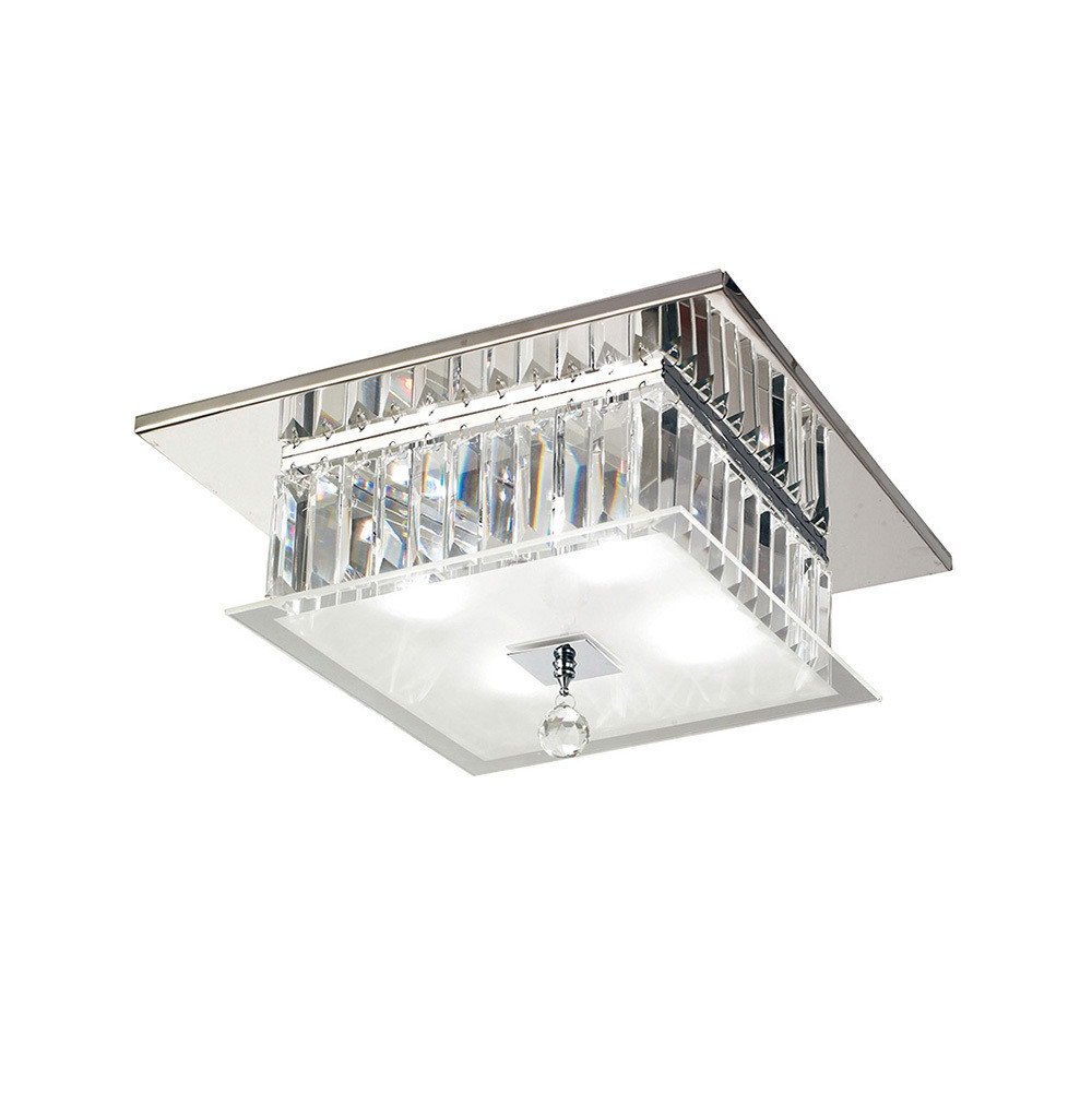 Tosca Ceiling Square 4 Light Polished Chrome/Glass/Crystal