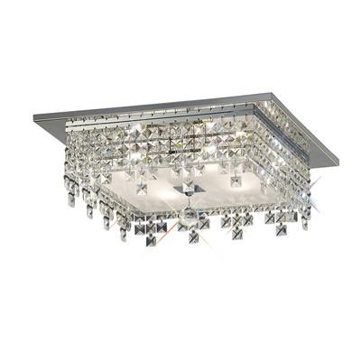 Esta Ceiling Square 4 Light Polished Chrome/Glass/Crystal